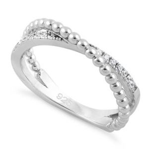 LAST ONE!! Sterling Silver Overlap Beads CZ Ring